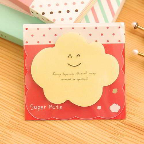 Smile Pattern Cloud Shape Paper Stickers Yellow RAECE8 6pcs