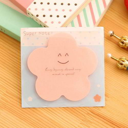Smile Pattern Flower Shape Paper Stickers Pink RAECDD 6pcs