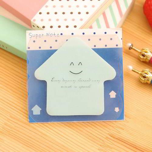 House Shape Design Paper Stickers Tape 6pcs Blue RAECDE