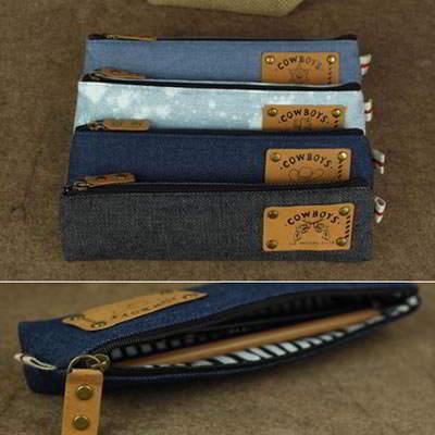 Korean Vintage Jeans Pencil Bag SD5FE6 6pcs