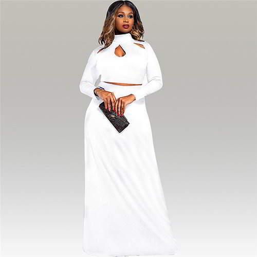 Neckline Long Sleeve Suits RBBBDA White 6pcs