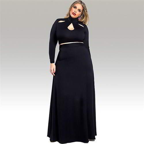 Neckline Long Sleeve Suits RBBBDB Black 6pcs