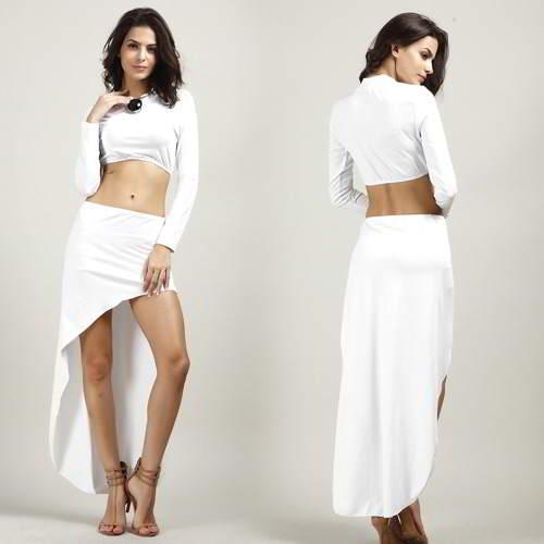 Long Sleeve Dovetail Hem Dress Suits RBA7B5 White 6pcs