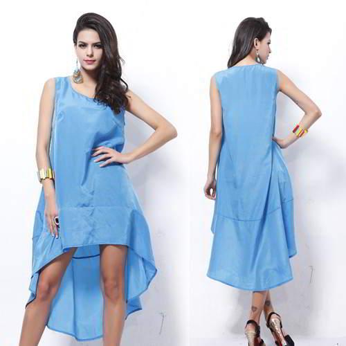 Sleeveless Irregular Dovetail Dress RBA778 Blue 6pcs