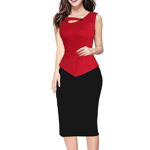 Color Matching Sleeveless Patchwork RCFC5A Red 6pcs