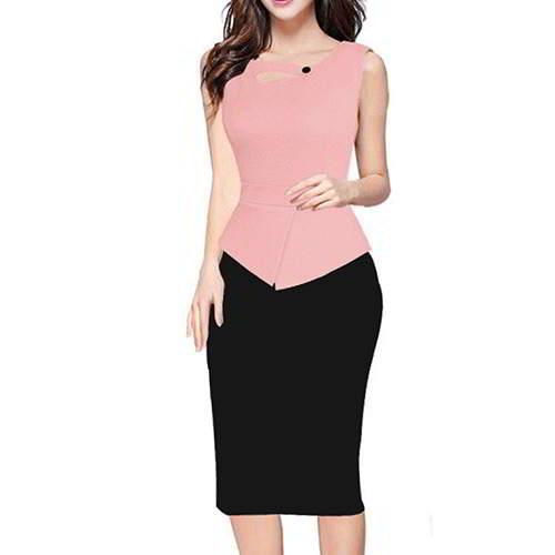 Color Matching Sleeveless Patchwork RCFC5B Pink 6pcs