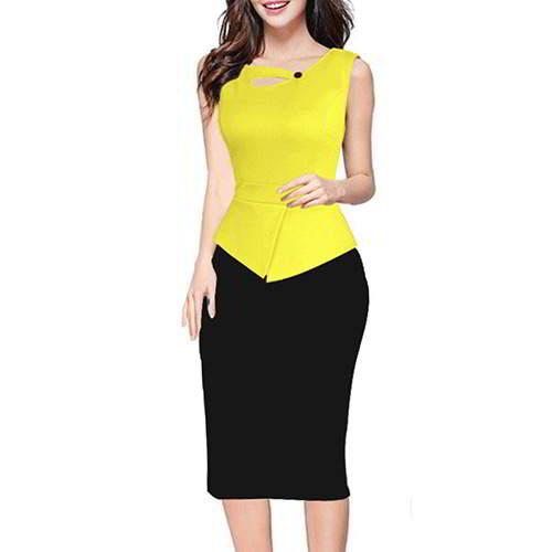 Color Matching Sleeveless Patchwork RCFC5C Yellow Black 6pcs