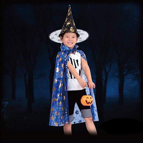 JRK Kids Halloween Pumpkin Pattern Cloak RCFD55 Blue 6pcs