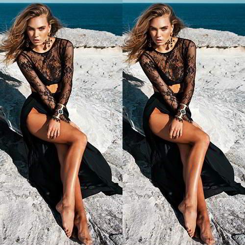 Lace Long Sleeve High Split Dress RC8A7A Black 6pcs