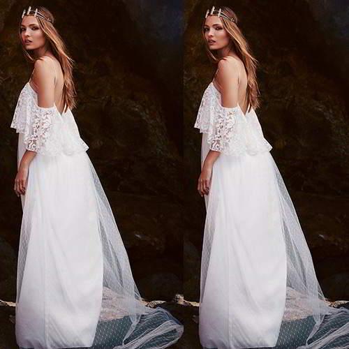 Off The Shoulder Lace Wedding Dresses RC8A75 White 6pcs