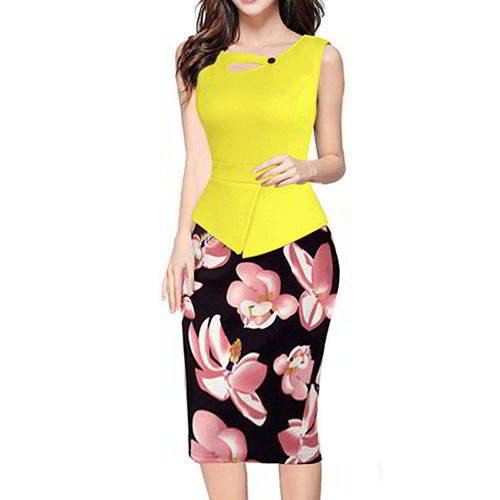 Painting Flower Sleeveless Patchwork RCFC67 Yellow Pink 6pcs