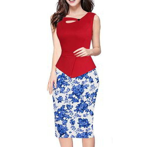Painting Flower Sleeveless Patchwork RCFC6A Red Blue 6pcs