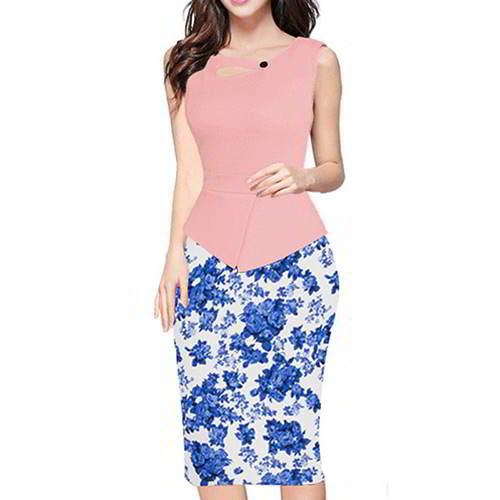 Painting Flower Sleeveless Patchwork RCFC6B Pink Blue 6pcs