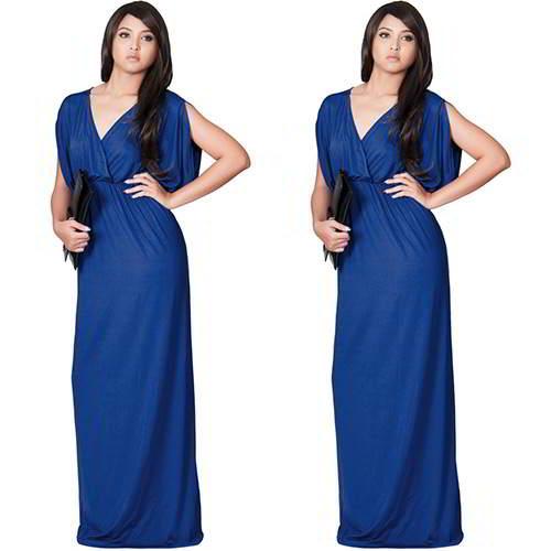 Pure Color V Neckline RC85EA Blue 6pcs