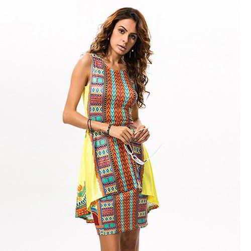 Sleeveless Dress RC8A7B Yellow 6pcs