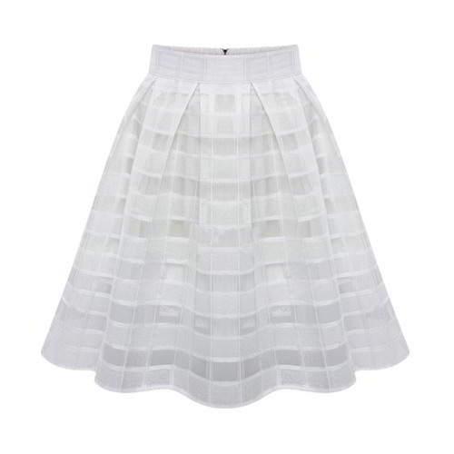 Grid Simple Bubble Chiffon Skirt RCFECA White 6pcs