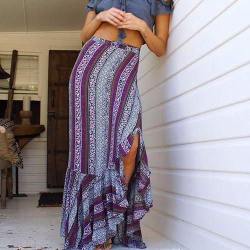 Flower Pattern Color Split Simple Skirt RCFA76 Gray 6pcs
