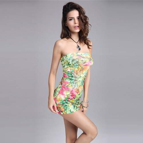 Flower Pattern Strapless L RBBED5 Green 6pcs