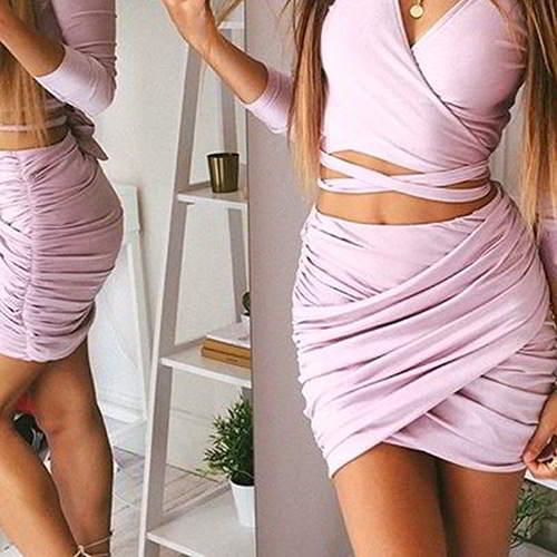 Fold Cross Skirt RBD568 Pink 6pcs