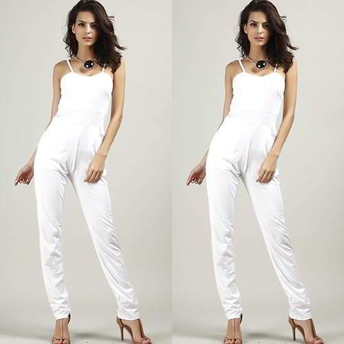 Pure Color Simple Jumpsuits RB57FF White 6pcs