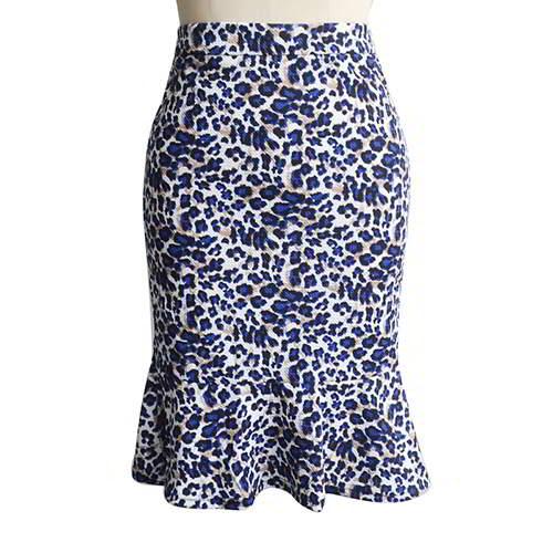 Lotus Leaf Hip Slim Fishtail Skirt RBA7EB Leopard Grain 6pcs