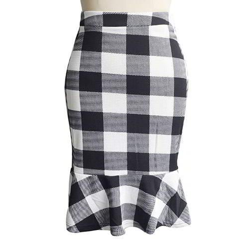 Lotus Leaf Hip Slim Fishtail Skirt RBA7EC White Black 6pcs