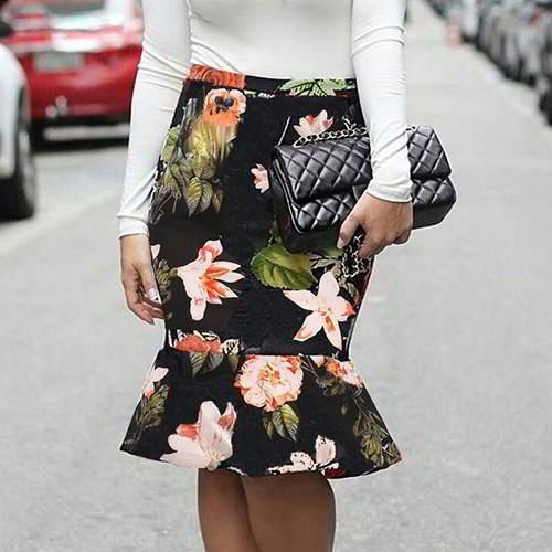 Flower Hip Slim Fishtail Skirt RBA6E5 Multi Color 6pcs