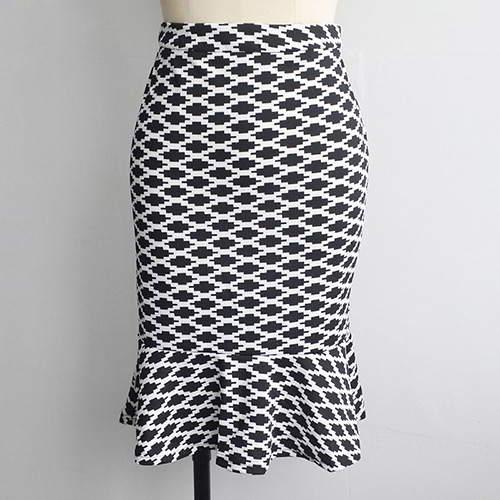 Rhombus Package Hip Slim Fishtail Skirt RBA6EA White Black 6pcs
