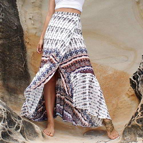Lace Flower Pattern Long Split Skirts RB6DA5 White Coffee 6pcs
