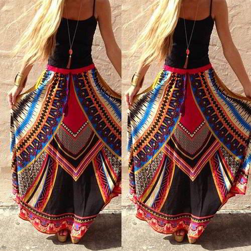 Pattern Falbala Long Skirts RB6DDD Multi Color 6pcs