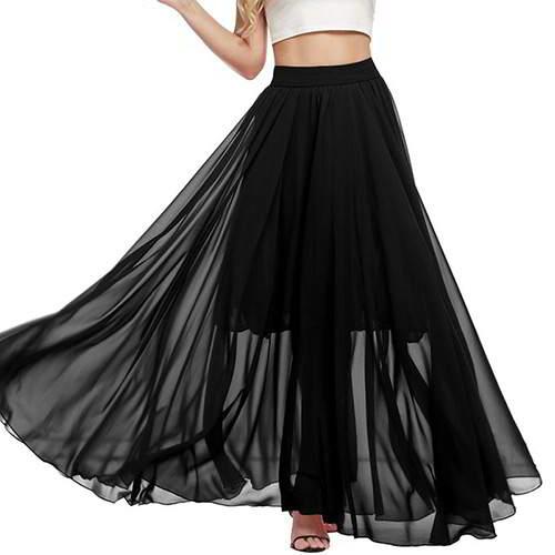 Pure Color Beach Long Skirts RB6C5F Black 6pcs