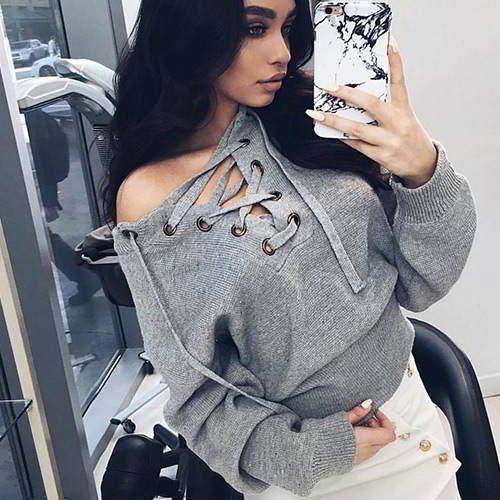 Bandage Sweater RBDAF8 Gray