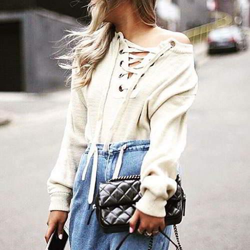Bandage Sweater RBDAFA White