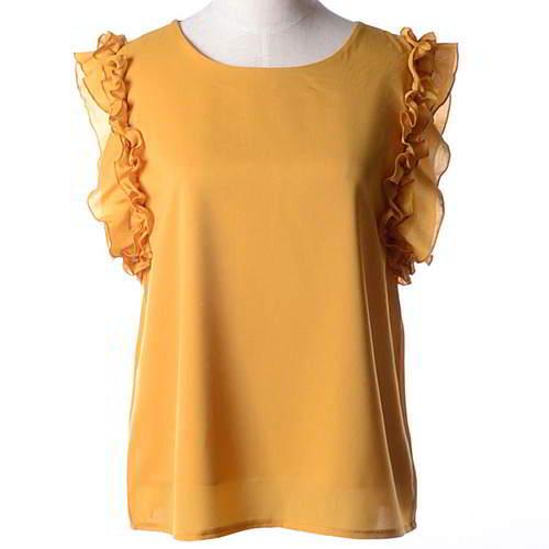 Bowknot Round Sleeveless Simple Chiffon RCFEAA Yellow 6pcs
