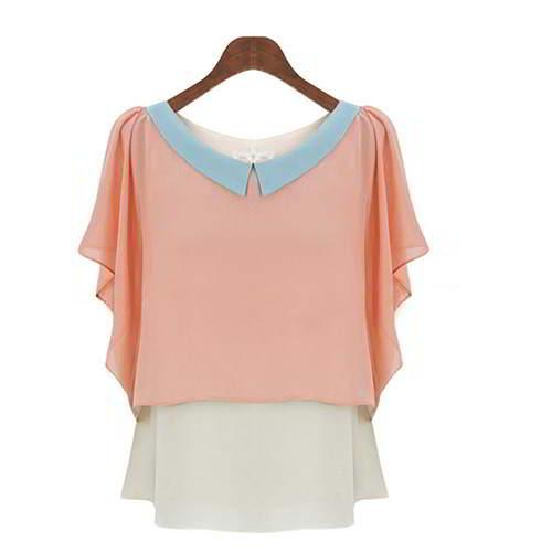 Doll Collar Short Sleeve Chiffon RCFEB6 Pink 6pcs