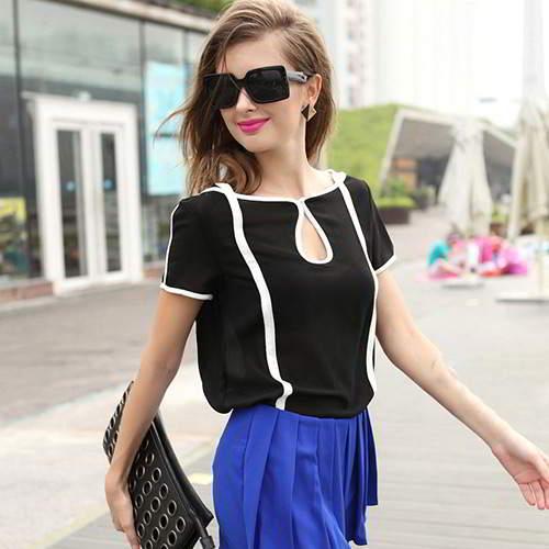 Color Matching Short Sleeve Chiffon RCFEAD Black 6pcs