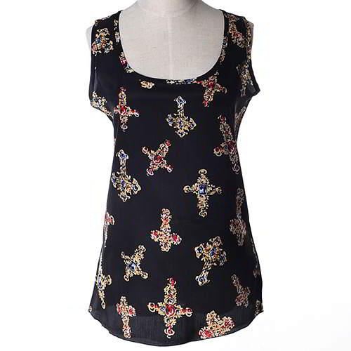 Cross Pattern Sleeveless Garment RBEE7F Black 6pcs