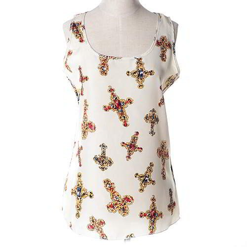 Cross Pattern Sleeveless Garment RBEE78 White 6pcs