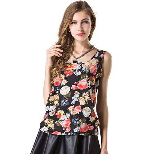 Flower Pattern Sleeveless Garment RBEE8E Black 6pcs