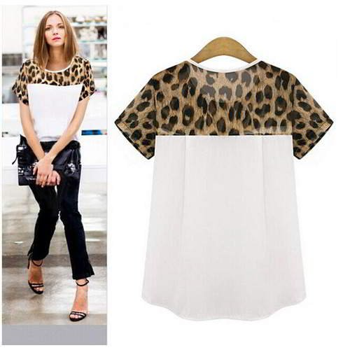 Leopard Short Sleeve Patchwork Chiffon RCFECE White 6pcs
