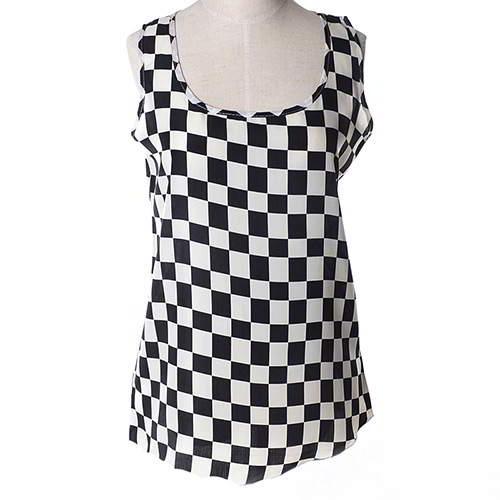 Plaid Pattern Sleeveless Garment RBEE77 Black White 6pcs