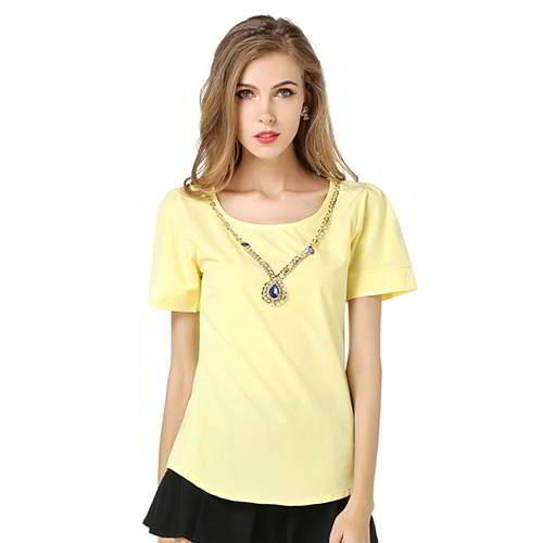 Round Puff Sleeve Larger Size Chiffon RCFEDF Yellow 6pcs