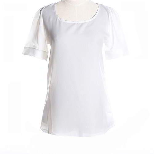 Round Puff Sleeve Larger Size Chiffon RCFED8 White 6pcs