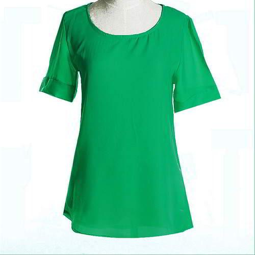 Round Puff Sleeve Larger Size Chiffon RCFED7 Green 6pcs