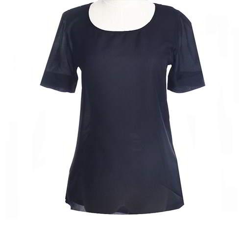Round Puff Sleeve Larger Size Chiffon RCFED6 Black 6pcs
