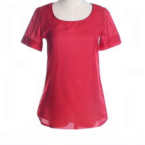 Round Puff Sleeve Larger Size Chiffon RCFED5 Red 6pcs