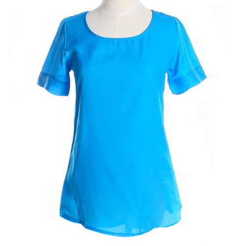 Round Puff Sleeve Larger Size Chiffon RCFEDB Blue 6pcs