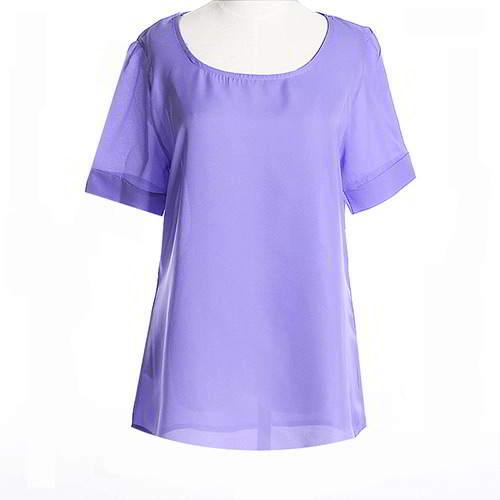Round Puff Sleeve Larger Size Chiffon RCFEDC Purple 6pcs