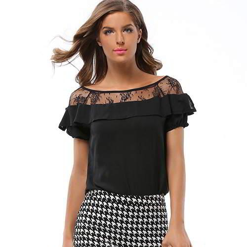 Short Sleeve Chiffon RCFEBF Black 6pcs