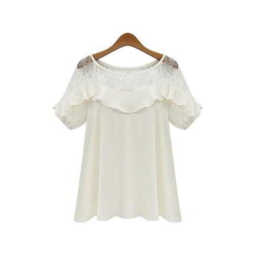 Short Sleeve Chiffon RCFEB8 White 6pcs